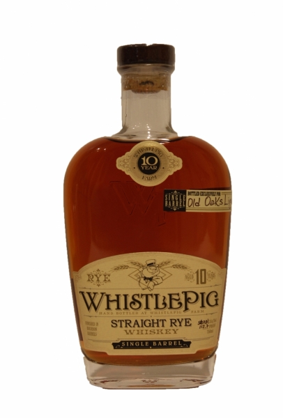 Whistle Pig 10 Year Old Single Barrel Bottled For Old Oaks